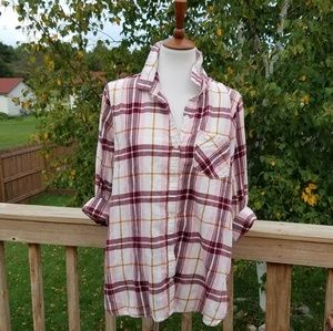 Old Navy Burgundy & Pink Plaid Flannel Tunic